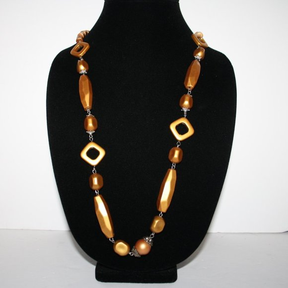 """Long silver and gold funky necklace 32"""""""